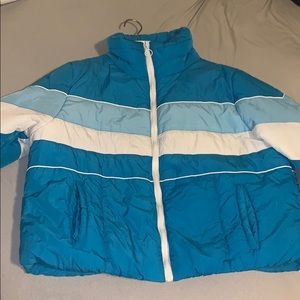 Cute blue winter puffer jacket